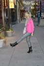 Hot-pink-h-m-sweater-heather-gray-h-m-pants
