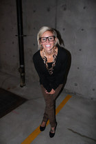 H&M glasses - Target sweater - ShawtynStilettos necklace - vera wang pants