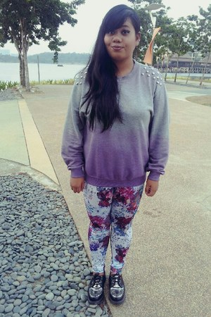 studded ombre DIY sweatshirt - creepers Dr Martens shoes - floral H&M leggings