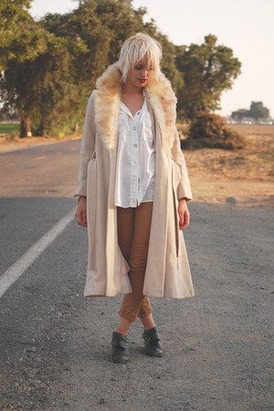 beige wool long coat 70s vintage coat jacket