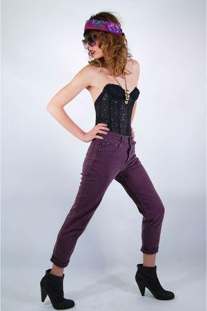 purple vintage skinny lee 80s revival jeans - black lace vintage corset bra - bl
