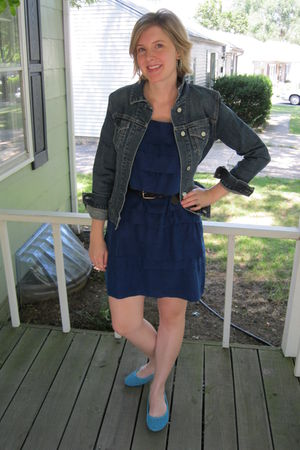blue Gap jacket - blue Loft dress - brown Target belt - blue merona shoes