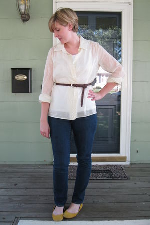 white J Crew Thrifted shirt - blue Old Navy jeans - brown Loft belt - yellow mer