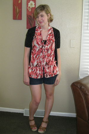 black Old Navy cardigan - orange Loft blouse - blue The Limited shorts - brown J