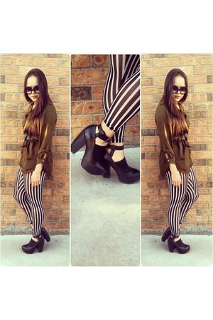 black striped Forever 21 leggings - black Miista heels