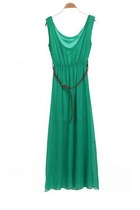Green Sleeveless Belt Pleated Chiffon Dress