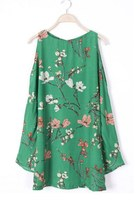 Green Cut Out Bell Sleeve Flowers Print Dress