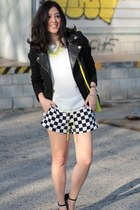Black White Plaid High Waist Shorts