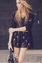 Black Chiffon Sequined Cross Shorts