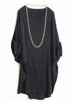 Black Batwing Puff Sleeve Loose Dress