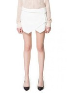 White Asymmetrical Geometric Pockets Shorts