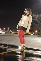 red Forever21 jeans - ruffled J Crew jacket - sequined H&M sweater - leopard pri