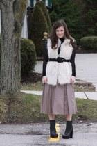 Steve Madden boots - BCBGMAXAZRIA sweater - faux fur RZ Rachel Zoe vest - leathe