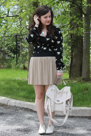 cream lace oxford modcloth shoes - cream Mossimo bag - black modcloth romper - t