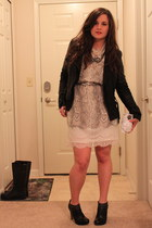 studded booties BCBGMAXAZRIA boots - River Island dress - seeya jacket - clutch