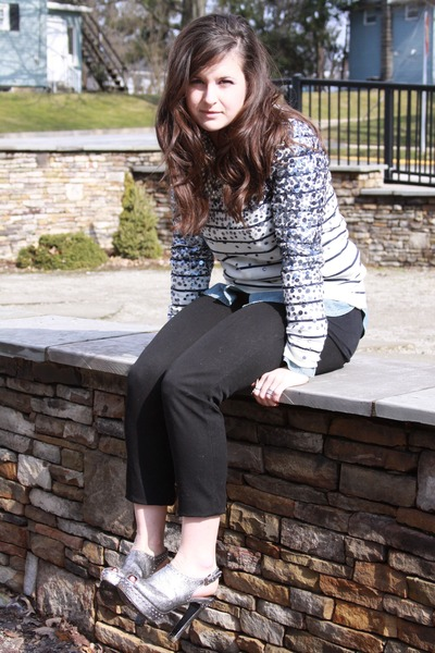 sequined J Crew sweater - chambray J Crew shirt - minnie J Crew pants - BCBGener