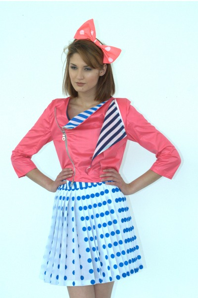 pink Shelley Menton jacket - blue Shelley Menton skirt