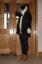 River Island wedges - H&M jeans - dunnes stores scarf - Pennys gloves - River Is