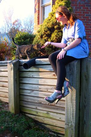 New York and Company shirt - miley cyrus max azria leggings - Madden Girl shoes
