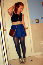 black MileyMax top - blue my own creation skirt - silver thrifted tights - gold