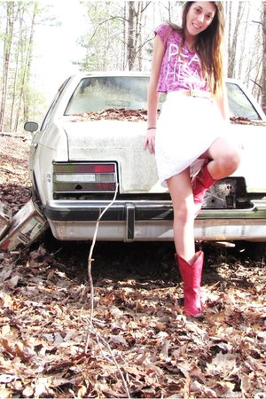 red cow girl boots - white strapless free people dress - white thrifted belt