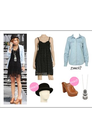 black dress - black hat - light blue jacket - tan clogs - turquoise blue necklac