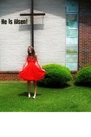 orange dress - black Target necklace - black Target ring