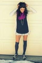 dark gray H&M shirt - magenta Jcrew scarf - stripes Anthropologie shorts - charc