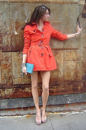 carrot orange H&M jacket - turquoise blue banana republic bag - neutral Guess he