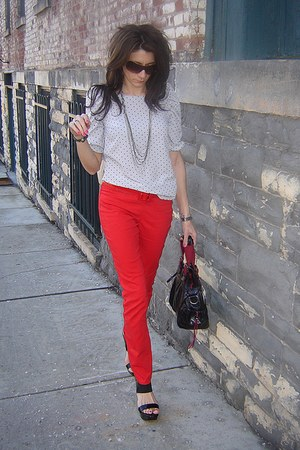 polka dot blouse - red H&M pants - black Jessica Simpson wedges