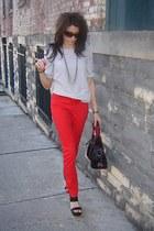 polka dot blouse - red H&M pants - black Jessica Simpson wedges