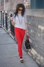 Polka-dot-blouse-red-h-m-pants-black-jessica-simpson-wedges