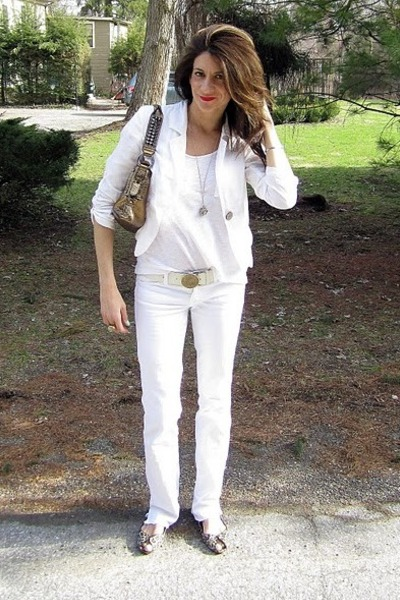 white Blue Cult jeans - ivory H&M blazer - bronze BCBG bag - leopard print flats