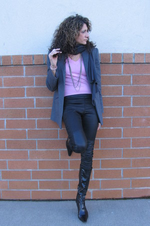 heather gray BCBG blazer - pink banana republic shirt - black H&M pants