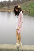light blue BCBG dress - light pink MNG cardigan - off white BCBG heels
