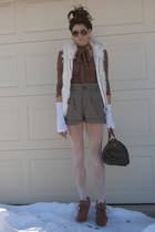brown H&M boots - brown Express shirt - Mango shorts - white vest