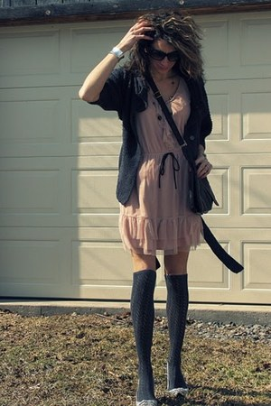 peach Target dress - gray sweater - gray socks