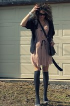 peach Target dress - gray sweater - gray socks