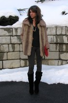 black Steve Madden boots - camel thrifted coat - ruby red thrifted bag - black b