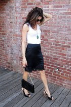black tory burch bag - black Guess heels - white banana republic top - black sil