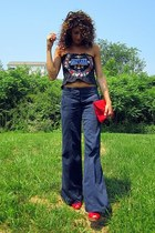 tube top shirt - navy DKNY pants