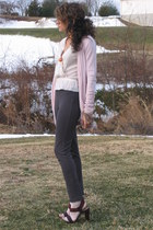 ivory MNG top - light pink MNG cardigan - heather gray Jcrew pants - nine west t