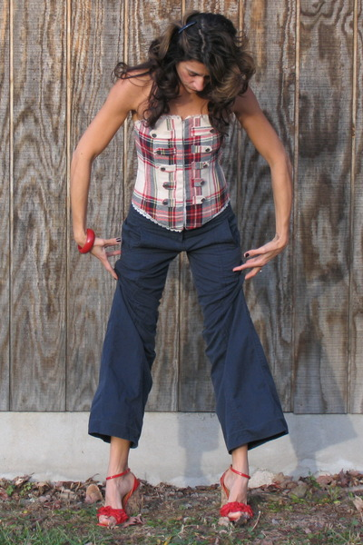 red plaid top - navy DKNY pants - red Miss Sixty shoes