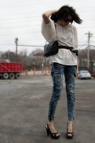 acid wash jeans - black tory burch bag - white MNG blouse - black studded Target