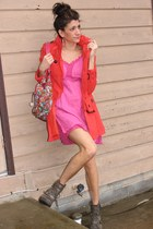 army green big buddah boots - bubble gum Miss Sixty dress - orange H&M jacket -