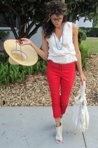ivory MNG shirt - red H&M pants - ivory BCBG heels