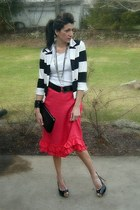 stripes H&M blazer - black tory burch bag - black Guess heels - hot pink French