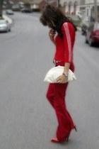 red Armani Exchange shirt - red patent leather heels - red Zara pants - JCrew be