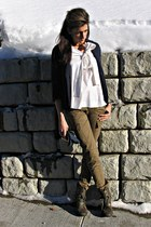 army green big buddah boots - navy blazer - white Theory shirt - light brown car
