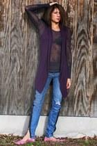 deep purple free people shirt - purple cynthia rowley vest - pink Bebe jeans - s